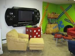 fun video game room design idea in basement with retro consoles