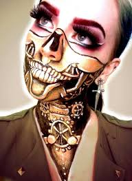 creepy clock work face paint makeup perfect for steam punk or steunk make up