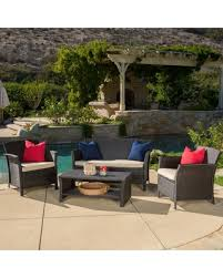 Conversation Sets Patio Furniture by Incredible Deal On Outdoor Santa Lucia 4 Piece Brown Wicker