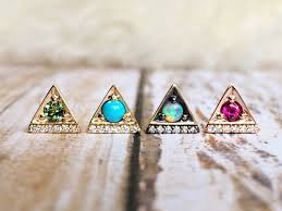triangle stud earrings cirque triangle stud earrings with green tourmaline