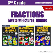 3rd grade fractions mystery pictures coloring workshets bundle