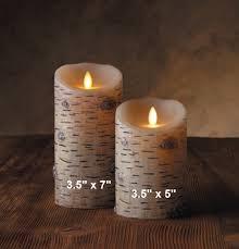 luminara flameless led candle indoor wax birch bark 3 5