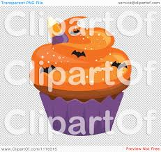 clipart halloween cupcake with orange frosting a purple wrapper