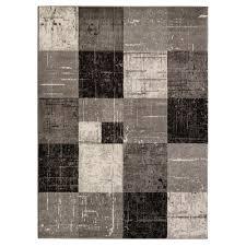 Tile Area Rug Cit3123 City Contemporary Square Tiles Geometric Design Area