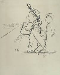 sketch of a woman and man wearing hats by carl oscar august erickson