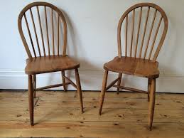 mid century ercol hoop back kitchen dining chairs 4a x 2 worn
