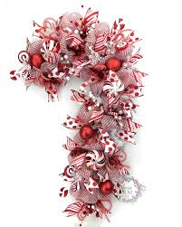 Holiday Wreath Deco Mesh Christmas Wreath Candy Cane Door Wreath Red White