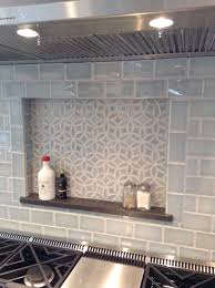 Kitchen Backsplash Blue Julep Tile Company Bloom Pattern And Subway Field Tile In Sky