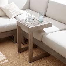 c shaped sofa portside c shaped side table weathered gray west elm