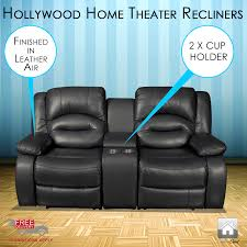 home theater loveseat recliners new luxury hollywood black leather air 2 seater home theater