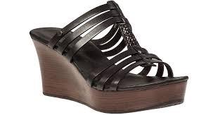 ugg wedge sandals sale lyst ugg mattie wedge sandal black leather in black