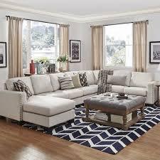 7 Seat Sectional Sofa by Mercury Row Blackston 7 Seat Nailhead Trimmed Linen Chaise U