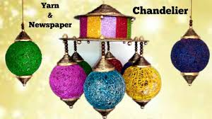 how to make chandelier from newspaper and yarn diwali christmas