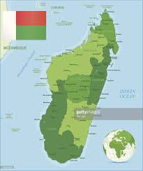 Madagascar Map Green Map Of Madagascar States Cities And Flag Vector Art Getty