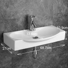 Wall Mounted Sinks Rectangular Wall Mountable Basin Sink With Tap And Waste