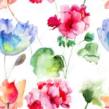 watercolor seamless wallpaper with summer flowers stock photo