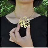 Gold Plated Monogram Necklace Amazon Com Monogram Necklace 18k Gold Plated Personalized Initial