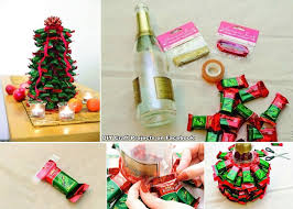 using a champagne or wine bottle make a candy christmas tree