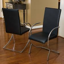 Leather And Chrome Chairs Lydia Black Leather Chrome Chairs Set Of 2 By Christopher