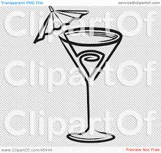 martini glass with umbrella royalty free rf clipart illustration of a black and white