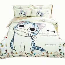 Fish Duvet Cover 100 Cotton Comfortable Cartoon Lovely Cat Printing Bedding Set