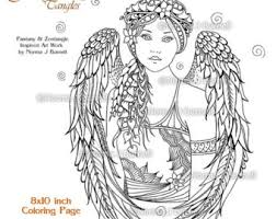 angle fairy tangles printable coloring pages norma