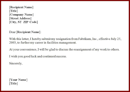 resignation letter correct sample for resignation letter one