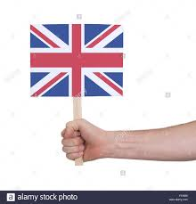 Flag Of The Uk Hand Holding Small Card Isolated On White Flag Of The Uk Stock