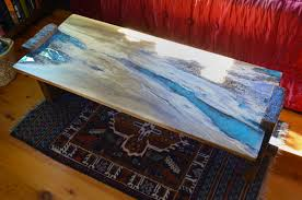 live edge table with turquoise inlay rustic oak coffee table with turquoise inlay abodeacious