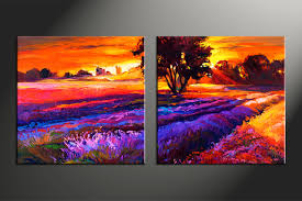 Artwork Home Decor 2 Piece Oil Paintings Orange Scenery Canvas Wall Art