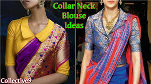 latest collar neck saree blouse designs high neck and collar neck