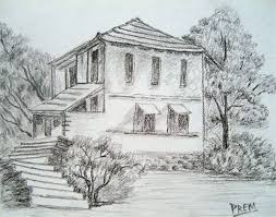 houses drawings pictures simple drawing of house pencil drawing art gallery