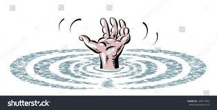 vector sketch water one hand drowning stock vector 128511845