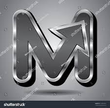 silver arrow symbol icon capital letter stock vector 122551861