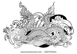 naga tattoo thailand thai traditional tattoo design naga king stock vector 1007276164