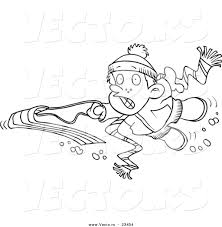 sledding coloring pages vector of a cartoon sledding penguin