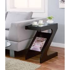 small living room end tables furniture of america enzo modern black tinted tempered glass top