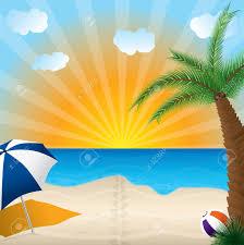 Beach Sun Umbrella Sandy Beach With Plam Tree Ball And Umbrella Royalty Free