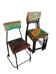 Reclaimed Wood Chairs Vintage Rustic Recycled Furniture Iron And Wood Stacking Chair