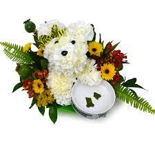 dog flower arrangement flower dog n bowl arrangement