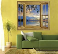 illusion window view wall mural window view wall stickers window illusion window view wall mural window view wall stickers window frame wall art self adhesive wallpaper view of the sunset at jeremi beach on curacao