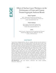 effect of surface layer thickness on the performance of lime and