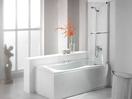 bathroom white melamine walk in bathtub and shower with steel