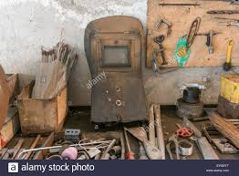 old workbench with work tools home garage stock photo stock photo old workbench with work tools home garage