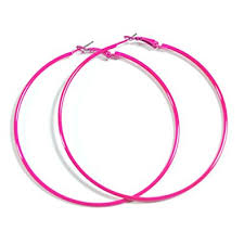 pink earrings neon hot pink hoop earrings 50mm circle size bright