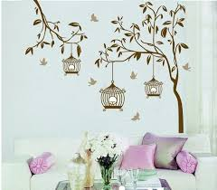 buy decals design tree with birds and cages wall sticker pvc buy decals design tree with birds and cages wall sticker pvc vinyl brown online low prices india amazon