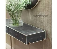 Shagreen Console Table by Faux Anthracite Shagreen Console With Silver Base