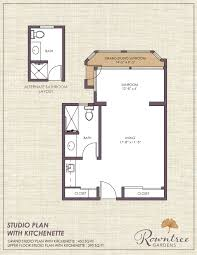 Studio Floor Plan by Living Options Rowntree Senior Apartments Suites Cottages