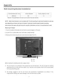 installing wall mount tv page 24 of proscan flat panel television 32lc30s60 user guide