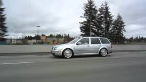 volkswagen wagon slammed mk4 jetta wagon on chevy corvette wheels rolling on the highway